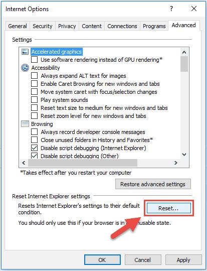 Reset Internet Explorer Step4