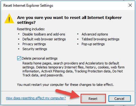 Reset Internet Explorer Step6